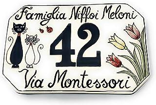 CERAMICHE D'ARTE PARRINI- Ceramica italiana artistica, numero civico in ceramica 20x13 personalizzato, decorazione gatti, ...
