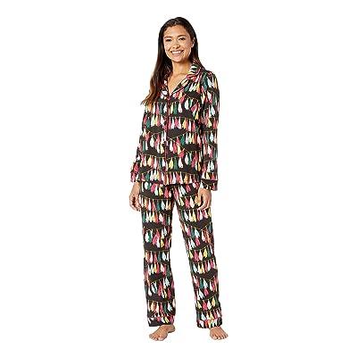 BedHead Pajamas Long Sleeve Classic Notch Collar Pajama Set (Festive Fringe) Women