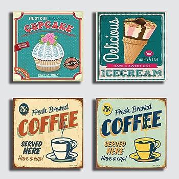 quadro moderno Arredamento vintage Negozio Bar Caff/è Ristorante Pizzeria Pizza Birra Pub Cupe Cake gelateria gelato Quadri Moderni 4 pezzi 30x30 cm stampa su tela canvas