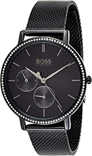 Hugo Boss Women's Black Dial Ionic Plated Black Steel Watch - 1502521