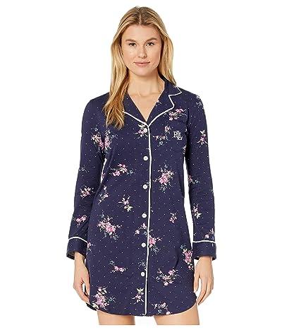 LAUREN Ralph Lauren Classic Knits Long Sleeve Notch Collar Sleepshirt (Navy Print) Women