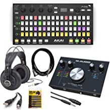 Akai Professional Fire FL Studio Performance Controller with FL Studio Fruity Edition Software + M-Audio M-Track 2X2 USB Audio Interface + Headphone + Cables & More - Top Value Bundle!