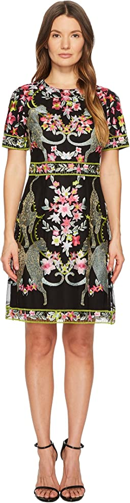 Marchesa Notte Short Sleeve Thread Embroidered Cocktail