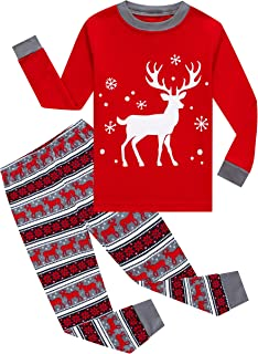 Little Girls Boys Long Sleeve Christmas Pajamas Sets 100% Cotton Pjs Kids Holiday