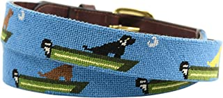 Charleston Belt Leather Needlepoint Belt with Labrador Retriever Dog and Boat Design