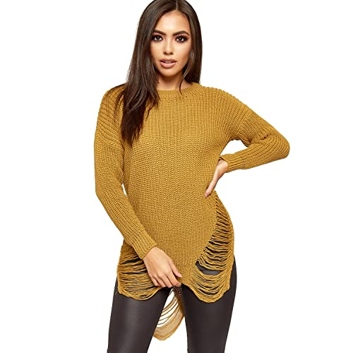 e366da81d1c WEARALL Women s Cable Knitted Ripped Distressed Long Sleeve Ladies Mini Jumper  Dress