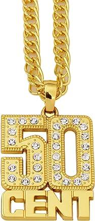 CACTUS88 Moda 2 colori Placcato oro Esagerare Cristalli stile 50 CENT Collana pendente