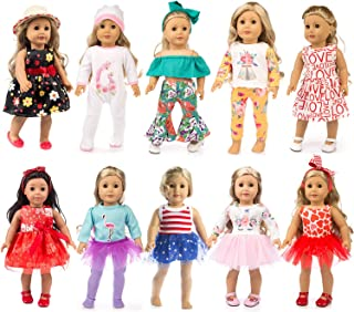 ZQDOLL 19 pcs Girl Doll Clothes Gift for American 18 inch Doll Clothes and Accessories, Including 10 Complete Sets of Clot...