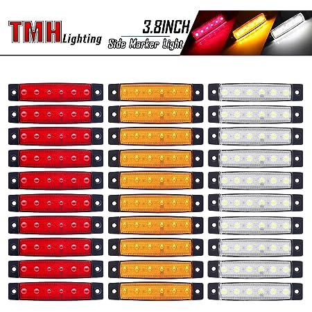 30pcs LED Indicators Side Marker Lights Front Rear Side Light 12V 6 LED Red+White+Yellow for Trailer Truck Caravan Camper Van Lorry Bus Boat Tractor Motorhome