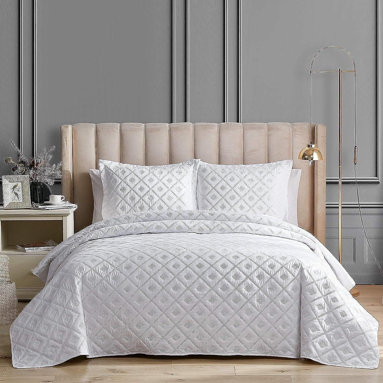 5 ☆ popular EHEYCIGA Quilt Set White King Size Bedspread Piece Coverlet Save money Su 3