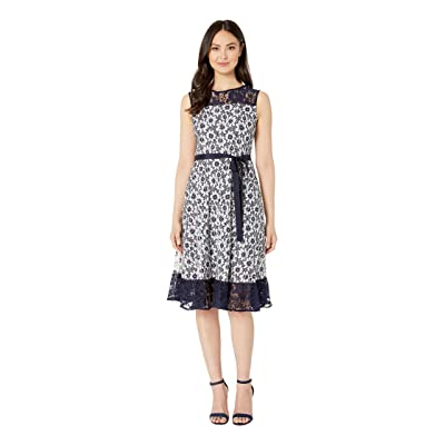 Gabby Skye Printed Lace Illusion Dress (Navy/Ivory) Women
