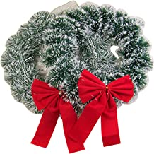 Flocked Tinsel Christmas Wreath with Red Velvet Ribbon Bow, 9 1/2 Inch, Pack of 2
