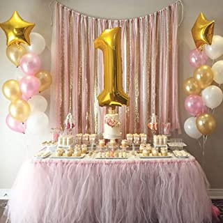 """Mother&Fabulous First Birthday Baby Girl Balloons Decoration. 40"""" number 1 mylar Balloon & Two 18"""" Gold Star Mylar Balloons With 12"""" Helium Quality pearl Latex Balloons White Gold And Pink- 39 Count."""