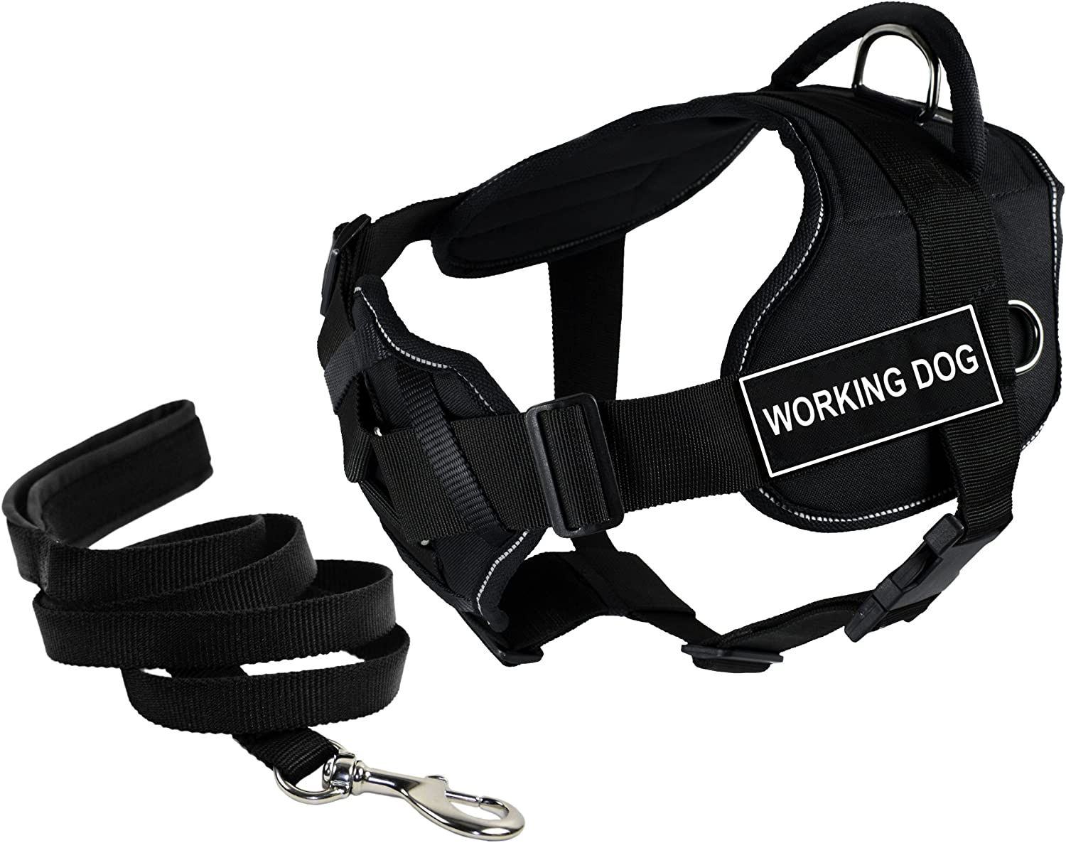 Dean & Tyler's DT Fun Chest Support WORKING DOG Harness with Reflective Trim, Medium, and 6 ft Padded Puppy Leash.