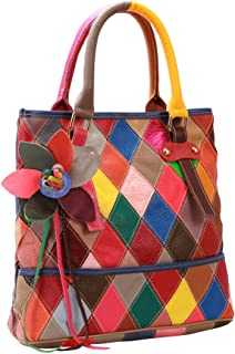 Heshe Womens Multi-color Shoulder Bag Hobo Tote Handbag Cross Body Purse