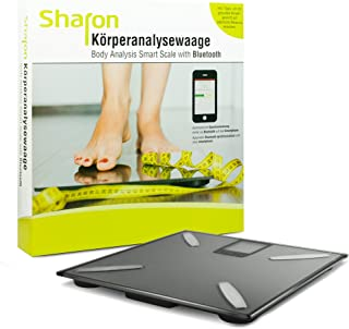 Sharon Báscula digital Bluetooth inalámbrica BT con aplicación Smart Scale, báscula de análisis corporal para peso, grasa corporal, porcentaje de agua, masa muscular, masa ósea y valores de IMC