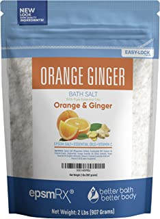 Orange Ginger Bath Salt 32 Ounces Epsom Salt with Ginger and Orange Essential Oils Plus Vitamin C and All Natural Ingredients BPA Free Pouch with Easy Press-Lock Seal