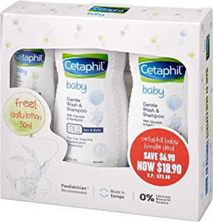 Cetaphil Baby Wash and Shampoo Twin Pack, 230ml (Pack of 2) with Travel-Sized Lotion, 50ml