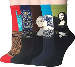Chalier 4/5 Pairs Womens Cool Socks Famous Painting Art Socks & Printed Novelty Funny Socks