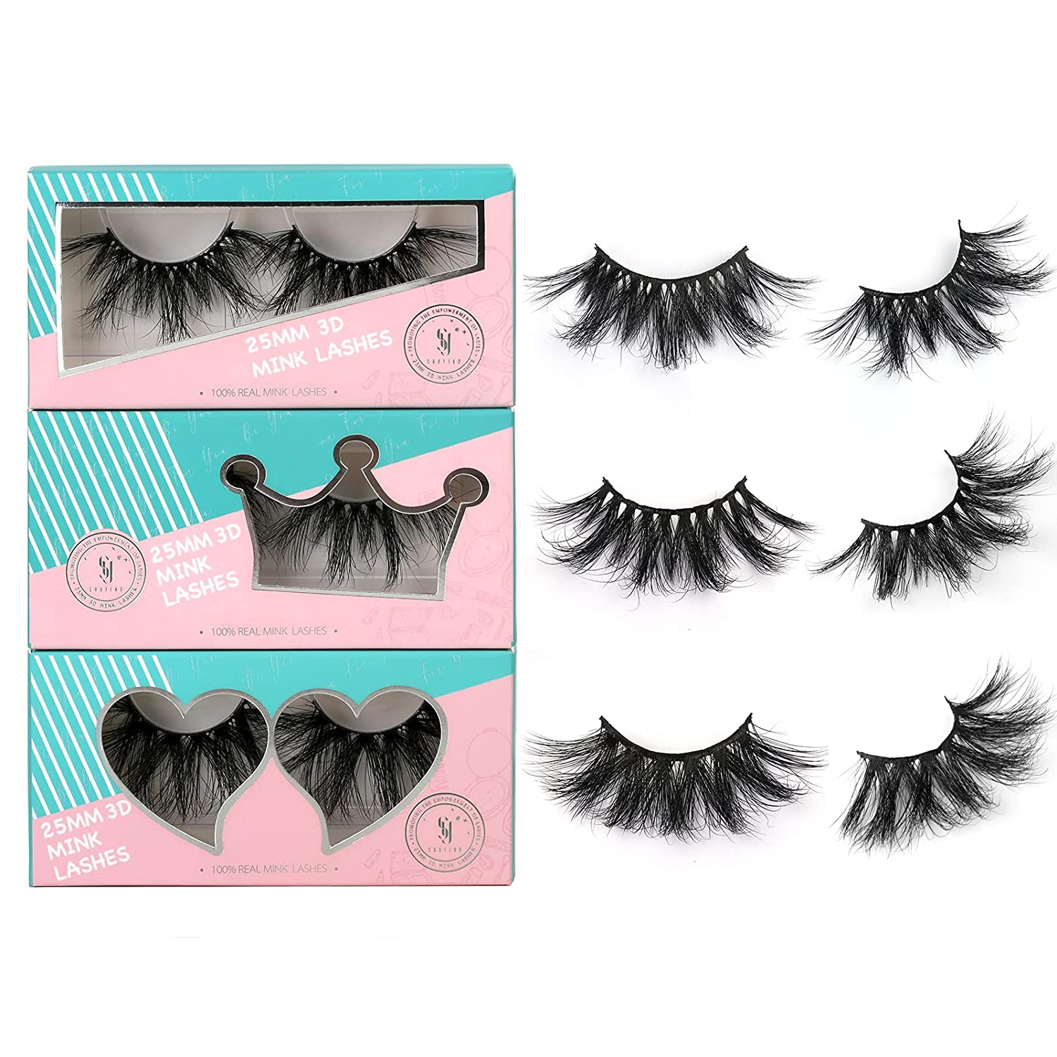 SY SHUYING 25mm Lashes 3D Fluffy False Wholesale Super-cheap Real Dramatic Mink