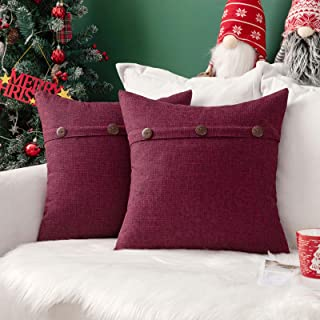Best MIULEE Set of 2 Decorative Linen Throw Pillow Covers Cushion Case Triple Button Vintage Farmhouse Pillowcase for Couch Sofa Bed Christmas Decor 18 x 18 Inch 45 x 45 cm Cranberry Red Review