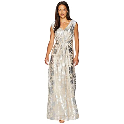 Tahari by ASL Novelty Stretch Gown with Waist Detail (Champagne/Silver) Women