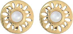 Perforated Stone Clip Earrings