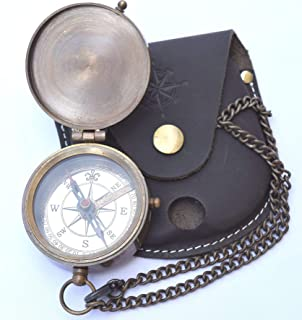 NEOVIVID Engravable Compass, Pocket Compass, Brass Compass with Leather Carry Case, Boy Scouts Compass, Eagle Scout Compass, Pirates Compass, Gift Compass, Camping Compass