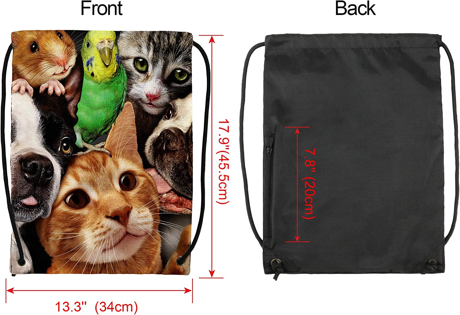 Sackpack with Drawstring Clip String Bag with Side Zipper Pocket Large Size Cinch Bag Machine Washable for Boys Gilrs Teens Cute Cat