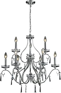 Elk 82056/6+3 28 by 30-Inch Sherbourne 9-Light Crystal Pendant Lamp with Clear Crystal, Polished Chrome Finish