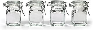 Kamenstein Square Glass Jar with Hinge Glass Lid, 4 Piece Set