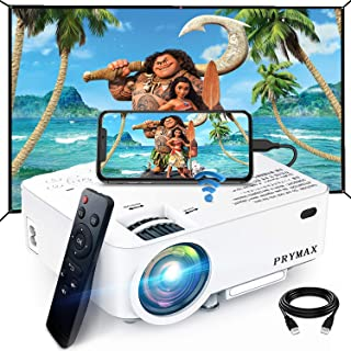 PRYMAX Mini Projector 1080P Supported Bluetooth Video Projector, Wifi and Wired Connection Compatible with TV Stick/HDMI/V...