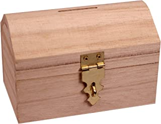 Creative Hobbies Ready to Decorate Wooden Treasure Box Savings Bank with Coin Slot, Hinged Lid and Lockable Front Clasp, DIY Craft