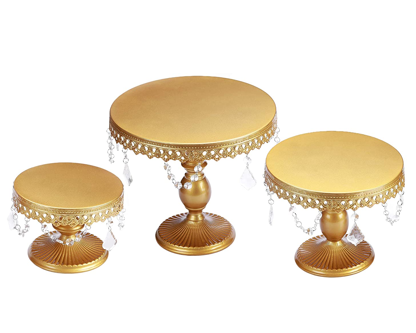 VILAVITA 3-Set Cake Stands Round Cupcake Stands Dessert Display Stand with Pendants and Beads, Gold