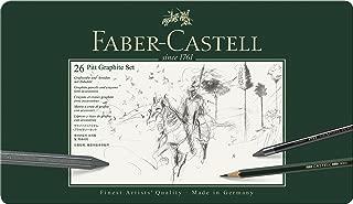 Faber-Castell 112974 - Estuche de metal con 3 ecolápices acuarelables, 9 grafitos 9000, 3 grafito Pitt puro, 3 grafitos y accesorios, multicolor