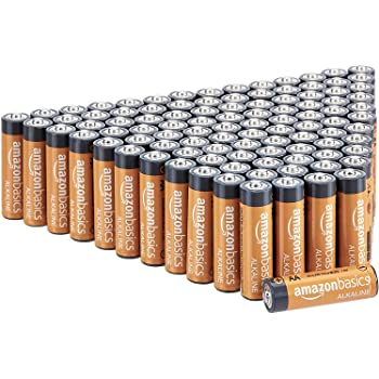 AmazonBasics 100 Pack AA High-Performance Alkaline Batteries, 10-Year Shelf Life, Easy to Open Value Pack