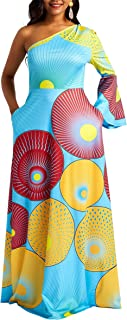 VERWIN Geometric Asymmetric Oblique Collar Women's Maxi Dress Pullover One Sshoulder Long Dress