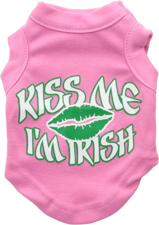 Mirage Pet Products 8Inch Kiss Me I'm Irish Screen Print Shirt for Pets, XSmall, Bright Pink