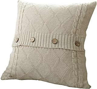 U'Artlines Cotton Knitted Decorative Pillow Case Cushion Cover Cable Knitting Patterns Square Warm Throw Pillow Cover (Cream, 18x18)