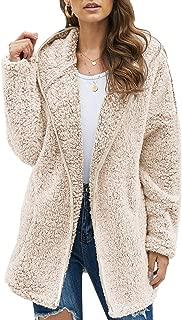 Womens Long Sleeve Solid Fuzzy Fleece Open Front Hooded Cardigans Jacket Coats Outwear with Pocket