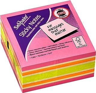 مكعب ملاحظات سناباك ستيكي 76 × 76 مم نيو/ألوان متنوعة (450 ورقة / مكعب) المرجع 11702 76 مم × 76 مم
