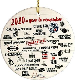 VWMYQ 2020 Christmas Ornament, Quarantine Ornament, Two-Side Printed, Ceramic Round Ornament for Xmas Tree Hanging Decorat...