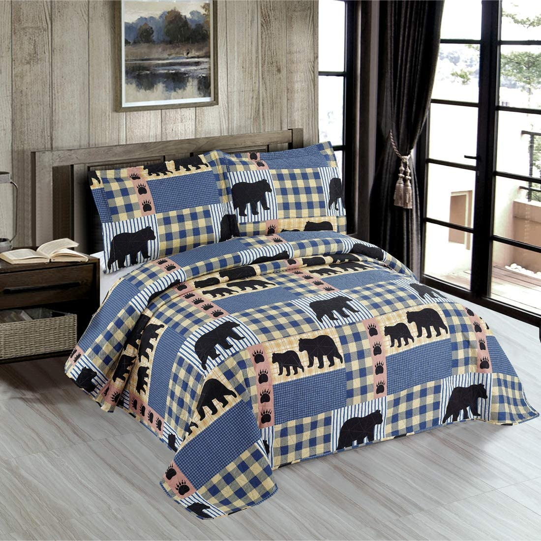 Oliven Lodge Bear Bedding Quilt King Size Blue White Plaid Bedspread Set Rustic Quilts Forest Bear Blanket Cabin Coverlet Summer Lightweight Bear Daybed Cover Woodland Home Decor