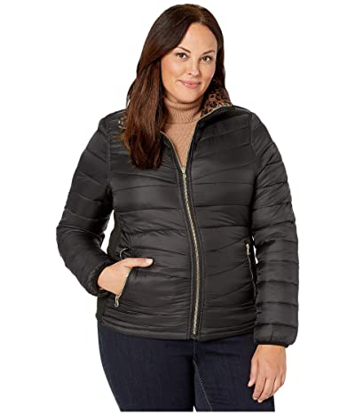 YMI Snobbish Plus Size Reversible Packable Puffer Leopard Jacket (Black/Leopard) Women