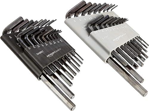 Amazon Basics Set di chiavi a brugola/chiavi di Allen con misure in pollici (sistema SAE) e in millimetri, confezione...