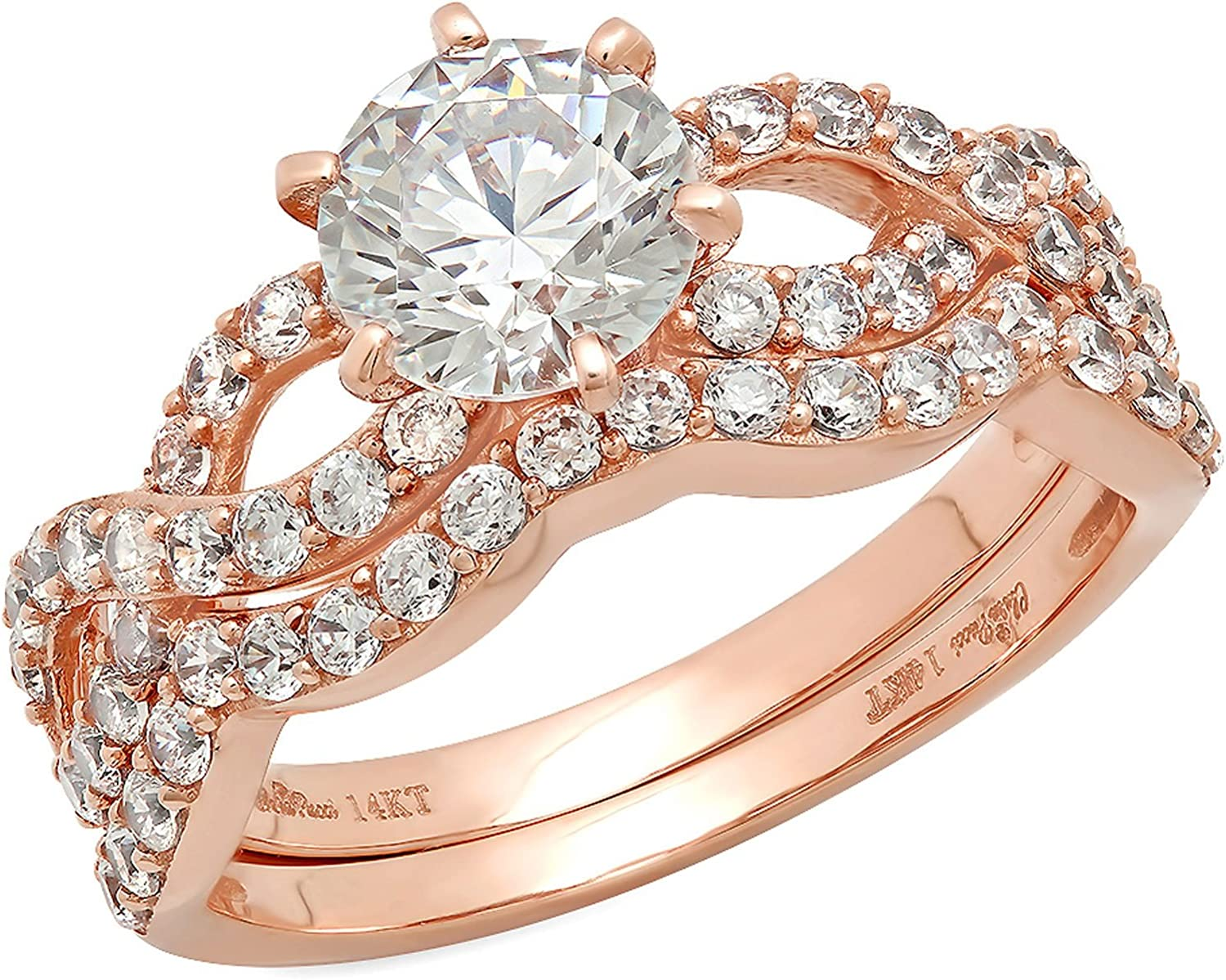 1.55ct Round Cut Halo Pave Solitaire Split Shank Accent Genuine Moissanite & Simulated Diamond Engagement Promise Statement Anniversary Bridal Wedding Ring Curved Band set 14k Rose Gold