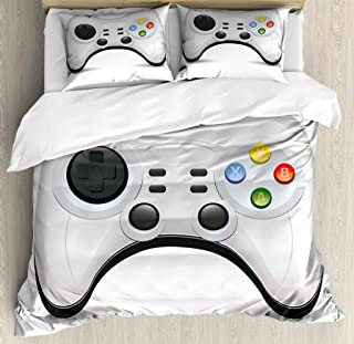 Lunarable Gamer Duvet Cover Set, Modern Gamepad with Colorful Action Buttons with Joysticks and D-Pad, Decorative 3 Piece Bedding Set with 2 Pillow Shams, Queen Size, Pale Grey