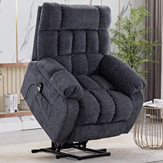 CANMOV Power Lift Recliner Chair with Heat & Massage for Elderly, Heavy Duty Reclining Chair with Contemporary Overstuffed Arms and Back, Blue