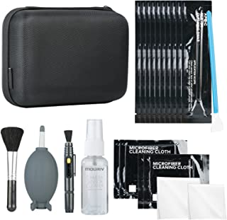 Mouriv Professional Deluxe DSLR Camera Cleaning Kit with10 APS-C Cleaning Swabs, Sensor Cleaning Fluid, Rocket Air Blower, Lens Pen, Soft Brush, 2X Small & 2X Large Microfiber Cloths and Carrying Case