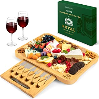 """Bamboo Cheese Board and Knife Set - Wooden Charcuterie Platter & Serving Tray with Cutlery (17.5"""" x 13"""")"""